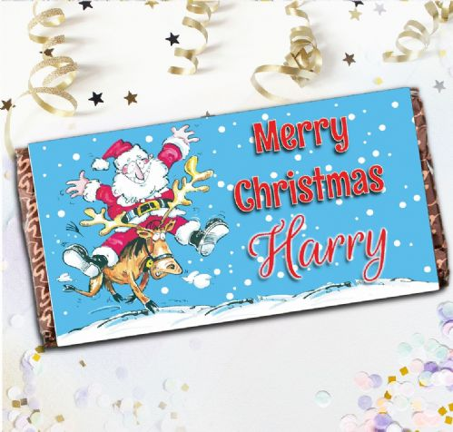 Personalised Merry Christmas Santa Milk Chocolate Bar - Xmas Eve Stocking Filler Gift N113